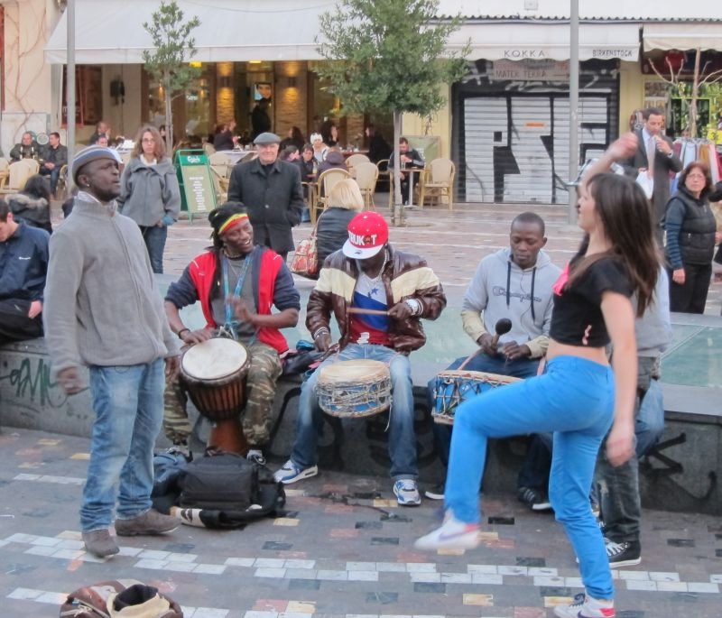 Some drummers and dancers in the square