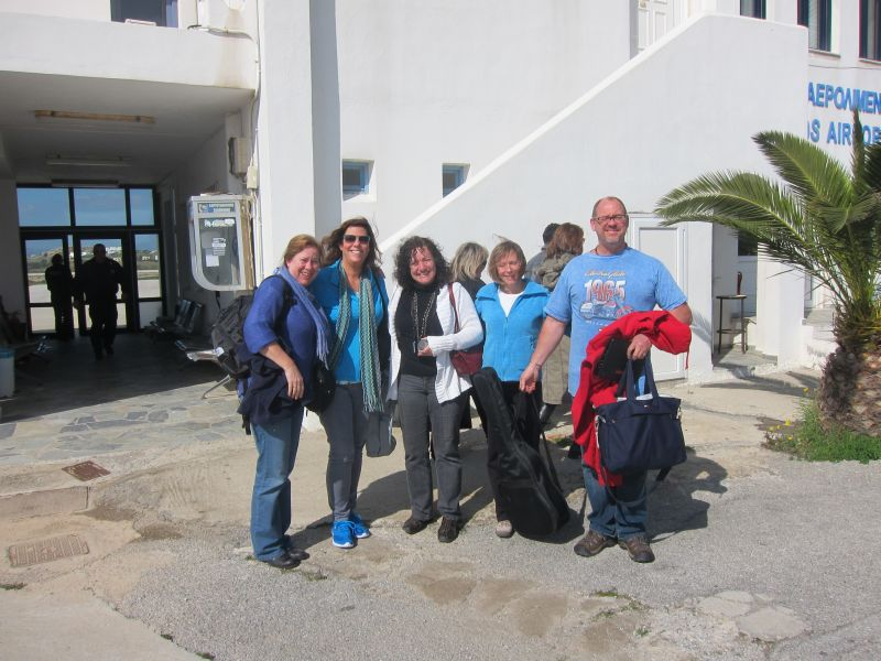 l. to r. Amy, Val, Marilyn, Kelly and Rob at the airport on Naxos