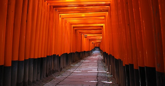Torii gates in long rows showing the paths