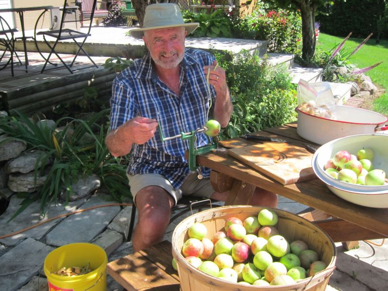 Bob getting apples ready for freezing
